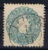 Sachsen  Mi Nr 19 Aa  1856  Used Grünlichblau
