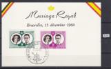 BELGIUM 1960, SOUVENIR CARD, ROYAL MARIAGE, 15. DEC. 1960, CANCEL BRUXELLES 17. 12. 1960,  See Scans - Erinnerungskarten