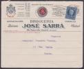 """1917-H-225 CUBA REPUBLICA. 1917. 5c. PERFINS """"SARRA. CARTA ILUSTRADA DE FARMACIA PARIS, FRANCIA. - Cuba"""