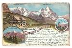 CPA Suisse/Schweiz: Farb-Litho, Hotel Grosse Scheidegg, Wetterhorn, Eiger, Hotelstempel, 1900, 2 Scans - BE Berne