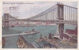 POSTAL DE UN BARCO EN MANHATTAN BRIDGE. NEW YORK AND BROOKLYN DEL AÑO 1919 (BARCO-SHIP) - Comercio