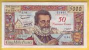 BILLET FRANCAIS - 50 NF Sur 5000 Francs Henri IV  30.10.1958 SUP - 1955-1959 Surchargés En Nouveaux Francs