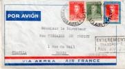 """ARGENTINE :PA . AIR FRANCE . POUR """" PARIS """" . AVEC GRIFFE . """" ENTIEREMENT TRANSPORTÉE PAR AVION """" . 1934 . - Argentine"""