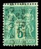 N°15, 5c Vert-foncé Sur Vert Surchargé 5 Lignes Du 10 Oct 1893, Couleur Rare, TTB (signé Scheller/certificat)    Qualite - 1893-1947