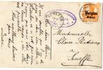 Postcard / Stamp / 1916 / Germania Witte Achtergrond (7½) / Duitse Rijk / Oranje / Met Opdruk Belgien 8 Cent - Invasion