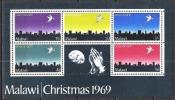 Malawi 1969 Religion Christentum Feiertage Weihnachten Christmas Stadt Städte Bethlehem Tauben Doves, Bl. 16 ** - Malawi (1964-...)