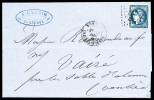 N°45A, 20c Bleu-verdâtre Type II Report 1 Seul Sur Lettre, Superbe Nuance, TTB (signé Calves/certificat)    Qualite: O - Marcophilie (Lettres)