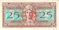 Billet 25 cents USA - Certificat de Paiement Militaire - Etat superbe - S�rie 521