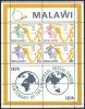 Malawi 1974 Organisationen Postgeschichte Weltpostverein UPU Hermes Merkur Landkarten, Bl. 36 ** - Malawi (1964-...)