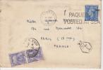 """London """"Paquebot Posted At Sea"""" 1950 Pour Paris Avec Taxe : 2 X 4 Francs + Cachet T 7c - Poste Maritime - Lettres Taxées"""