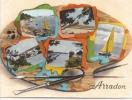 ARRADON (2)-56 - France -multi Vues Multivues Palette Peintre  -Gaby Sans N° Colorisée -moustoir Paluden Carriere - Arradon