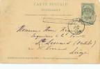 079/24 - Entier Postal Armoiries Griffe Encadrée MONTZEN-MORESNET Via VERVIERS 1896 - Poststempel