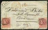 Pli De MAURITIUS De 1864  Affranchissement FOUR PENCE X2 Oblt (B53) + POSS. ANG V SUEZ MARSEILLE H +PD > BORDEAUX - Maurice (...-1967)