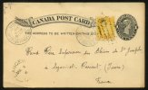 Entier Postal Carte De LANGEVILLE De 1896 ONE CENT + ONE CENT Orange > FRANCE - Brieven & Documenten