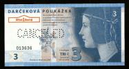 "3 EUR SLOVAKIA, Canceled, Beids. Druck, Test Note? Voucher? RRRRR, UNC,  160 X 82 Mm, Serial No., Perforation ""CANCELED! - Slowakei"