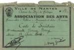 Carte D'Adhésion - Carte De Fidélité - Carte De Sociétaire De Nantes 44000 - 1945 - Borry Yvonne - Assoc. Des Arts - - Cartes