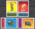 Malawi 1977 Kunst Kultur Kunsthandwerk Schnitzen Schnitzereien Skulpturen Elefanten Nashorn Tiere, Mi. 277-0 ** - Malawi (1964-...)