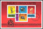 Malawi 1977 Kunst Kultur Kunsthandwerk Schnitzen Schnitzereien Skulpturen Elefanten Nashorn Tiere, Bl. 47 Gest. - Malawi (1964-...)