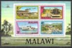 Malawi 1977 Verkehrswesen Verkehr Transport Luftfahrt Flughafen Eisenbahn Railway Omnibus Schiffe, Bl. 48 ** - Malawi (1964-...)