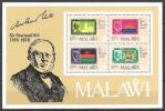 Malawi 1979 Postgeschichte Philatelie Philately Briefmarken Persönlichkeiten Rowland Hill Flaggen Wappen, Bl. 56 ** - Malawi (1964-...)