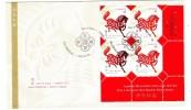 2002 Canada Year Of The Horse 48c Plate Block First Day Cover - Omslagen Van De Eerste Dagen (FDC)