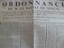 Affiche Placard Ordonnance De M. Le Bailli De Senlis. 27/04/1789 Convocation Des Trois Etats. Révolution. Lefebvre - Décrets & Lois