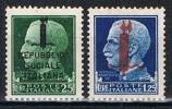 Sellos Republica Social ITALIA, Yvert Num 21 Y 25 * - 1944-45 République Sociale
