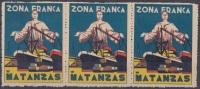 VI-64 CUBA. VIÑETA. 1936. ZONA FRANCA DEL PUERTO DE MATANZAS. TIRA DE TRES VIÑETAS. - Kuba