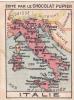 ITALIE Carte Géographique + Texte Au Dos Chromo Publicitaire  Chocolat Pupier Années 35/40 - Chocolat