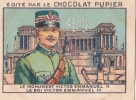 ITALIE Monument Roi VICTOR EMMANUEL III + Texte Au Dos Chromo Publicitaire  Chocolat Pupier Années 35/40 - Cioccolato