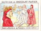 ITALIE DANTE Et BEATRIX Au Paradis + Texte Au Dos Chromo Publicitaire  Chocolat Pupier Années 35/40 - Chocolat