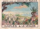 ITALIE NAPLES Et Le VESUVE + Texte Au Dos Chromo Publicitaire  Chocolat Pupier Années 35/40 - Chocolat