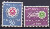 SVIZZERA 1963 FRANCOBOLLI DI SERVIZIO CONFERENZA DELL'UNCSAT UNIF. 434-435 MNH XF - Servizio