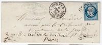 82460 C - N° 14 PC 1896 Cad ALGERIE BB MARSEILLE (12) Fev 1859 S/lettre D'ALGER Pour La FRANCE TB - 1849-1876: Classic Period