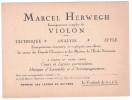 Paris / France - CARTE De VISITE De Marcel HERWEGH Enseignement Musique Violon Cours Et Leçons Particulieres Paris 9eme - Cartoncini Da Visita
