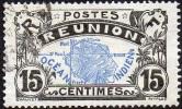 Réunion Obl. N°  61 Carte De L´ile - 15 Cts Noir Et Outremer - Oblitérés