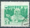 SOUTH KOREA  - 1956 - USED/OBLIT.  - MU YAL TEMPLE - Mi 210y WAAGERECHT GESTREIFTES PAPIER 60.00 EUR - Lot 13217 - Corée Du Sud