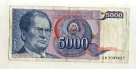 - YOUGOSLAVIE  . BILLET 5000 D. 1985 - Yougoslavie