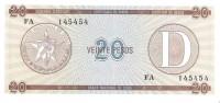 Cuba - Foreign Exchange Certificates - 20 Pesos Series D - Unc - Cuba
