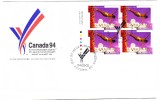 1994 Canada Commonwealth Games 50c Plate Block First Day Cover - 1991-2000