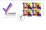 1994 Canada Commonwealth Games 88c Plate Block First Day Cover - 1991-2000