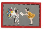13755 -  Chien Tenant Bouquet De Fleurs Et Filette Lui Apportant Un Message Degami 2099 - Fantaisies