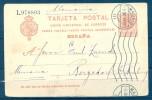 1911 , MADRID , E.P. 53 , CIRCULADO A HAMBURGO , MAT. RODILLO - 1850-1931