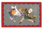 13756 -  Fillette Et Bouquet De Fleurs Portant Chien Et Message Degami 2099 - Autres