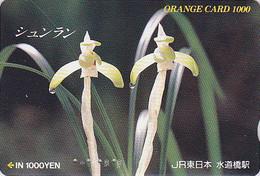 Carte Orange Japon - FLEUR ORCHIDEE- ORCHID Flower Japan Prepaid Card - BLUME JR Karte - ORQUIDEA - 1864 - Fleurs