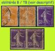N° 141-142 SEMEUSE CAMÉE FOND PLEIN 1907 - TYPE I - N* TRACE CHARNIÈRE + OBLITÉRÉS (VOIR LE DESCRIPTIF) - 1906-38 Semeuse Camée