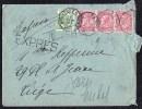 ENVELOPPE PAR EXPRES - OBLIT. TELEGRAPHE BRUXELLES NORD > LIEGE 1/02/1905 - 1893-1900 Fine Barbe