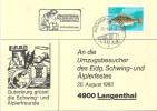"""Sonderkarte  """"Eidg. Schwing- Und Aelplerfest, Langenthal""""           1983 - Brieven En Documenten"""
