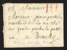 """Pr�philat�lie - lettre dat�e de Li�ge 1733 avec port """"III"""" � la craie rouge pour Bruxelles"""
