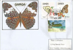 SAMOA.Papillons: Belenois Java,Tirumala Hamata  Sur Lettre D´Apia (SAMOA) Adressée En New-Zealand - Butterflies